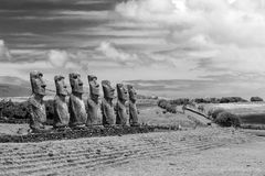 Moai statues on Easter Island Royalty Free Stock Photography