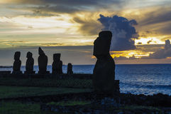 Moai statues in Easter Island, Chile Royalty Free Stock Image