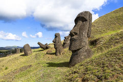 Moai Statues in Easter Island, Chile. Moai are monolithic human figures carved by the Rapa Nui people on the Chilean Polynesian island of Easter Island between stock image