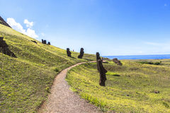 Moai Statues in Easter Island, Chile Royalty Free Stock Photo