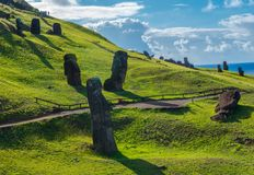 Shadows of Moai Statues on Rapa Nui stock images