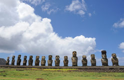 Moai Statues on Easter Island Royalty Free Stock Photo