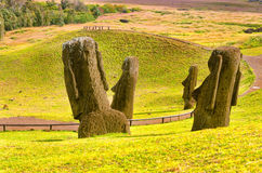 Moai Statues in Easter Island Royalty Free Stock Images