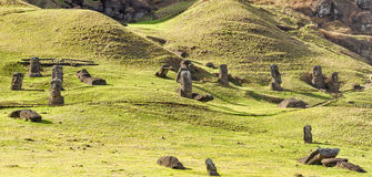 Moai statues in Rano Raraku Volcano, Easter Island, Chile Royalty Free Stock Photos