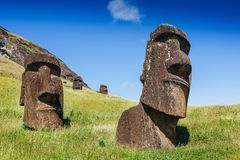 Moai statues in the Rano Raraku Volcano in Easter Island, Chile Royalty Free Stock Photography