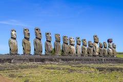 Moai statuy Ahu Tongariki - Wielkanocna wyspa, Chile Fotografia Royalty Free