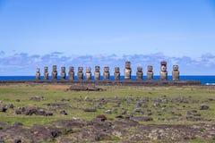 Moai statuy Ahu Tongariki - Wielkanocna wyspa, Chile Zdjęcie Stock