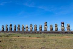 Moai statuy Ahu Tongariki - Wielkanocna wyspa, Chile Zdjęcia Stock