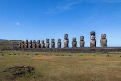 Moai statuy Ahu Tongariki - Wielkanocna wyspa, Chile Fotografia Stock