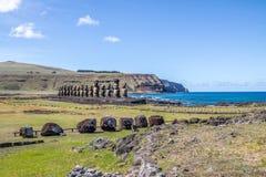 Moai statuy Ahu Tongariki - Wielkanocna wyspa, Chile Obrazy Stock