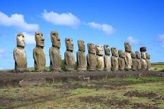 Moai statyer, påskö, Chile Arkivfoto