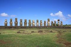 Moai statyer, påskö, Chile Royaltyfria Foton