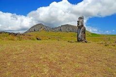 Moai Stone Statue at Rapa Nui - Easter Island. Moai Stone Statue at the Quarry on Rapa Nui - Easter Island, Polynesia, Chile stock photography