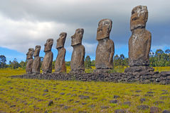 Moai Stone Statues at Rapa Nui - Easter Island Royalty Free Stock Photo