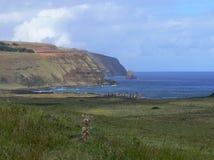 Moai Stone Statues at Rapa Nui. Easter Island, Polynesia, Chile royalty free stock photography