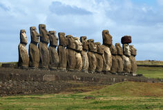 Moai sull'isola di pasqua Fotografie Stock
