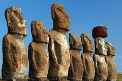 Moai sull'isola di pasqua fotografia stock libera da diritti