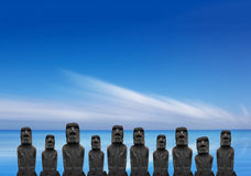 Moai sull'isola di pasqua, Cile Fotografia Stock Libera da Diritti
