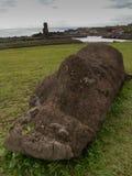 Moai tombé grand-angulaire Images libres de droits