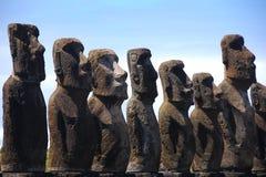 Moai van Ahu Tongariki op het Eiland van Pasen (Rapa Nui) Stock Foto