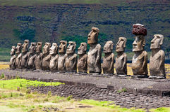 Moais в Ahu Tongariki, острове пасхи, Чили Стоковые Фотографии RF