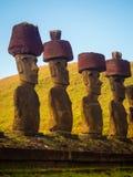 Moais of Ahu Nau Nau in Anakena beach in Easter Island, Chile.  royalty free stock photography