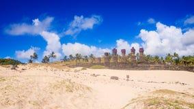 Moais of Ahu Nau Nau in Anakena beach in Easter Island, Chile royalty free stock photography