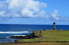 Moais at Ahu Tahai ceremonial complex near Hanga Roa, Rapa Nui Easter Island. The Tahai Ceremonial Complex is an archaeological site on Rapa Nui Easter Island Royalty Free Stock Images