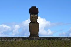 Moais at Ahu Tahai ceremonial complex near Hanga Roa, Rapa Nui Easter Island. The Tahai Ceremonial Complex is an archaeological site on Rapa Nui Easter Island stock image