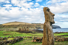 Moais at Ahu Tongariki in Easter island Royalty Free Stock Photo
