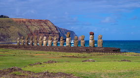 Moais on Ahu Tongariki, Easter Island, Chile Royalty Free Stock Photos