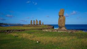 Moais on Ahus Vai Uri and Tahai, Easter Island, Chile Stock Photo