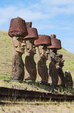 Moais in Anakena beach, Easter island Stock Images