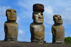 Moais in the ceremonial platform Ahu at Tongariki beach, Rapa Nui Easter island. Ahu Tongariki is the largest ahu on Easter Island. Its moai were toppled during Royalty Free Stock Image