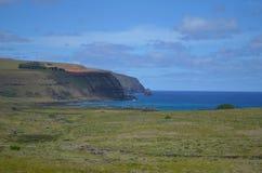 Moais in der zeremoniellen Plattform Ahu an Tongariki-Strand, Osterinsel Rapa Nui Lizenzfreies Stockfoto
