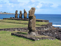 Moais of Easter Island. Ahu Tahai. Moais of Easter Island Royalty Free Stock Photo