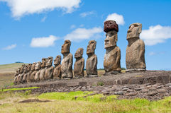 Moais in Easter Island Stock Photography