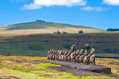 Moais em Ahu Tongariki, Ilha de Páscoa, o Chile Imagem de Stock