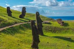 Moais en la isla de pascua fotografía de archivo libre de regalías