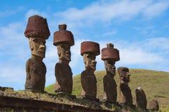 Moais in het eiland van Pasen Stock Fotografie