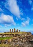 Moais na Wielkanocnej wyspie, Chile Zdjęcie Royalty Free