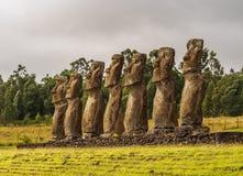 Moais na Wielkanocnej wyspie, Chile Zdjęcia Royalty Free