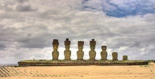 Moais op Rapa Nui Stock Afbeelding