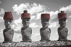 Moais przy Ahu Tongariki Zdjęcia Royalty Free