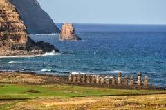 Moais przy Ahu Tongariki w Wielkanocnej wyspie Fotografia Stock
