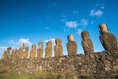 Moais przy Ahu Tongariki w Wielkanocnej wyspie Obraz Royalty Free