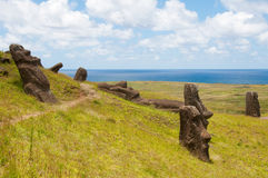 Moais at Rano Raraku, Easter island (Chile Royalty Free Stock Photo