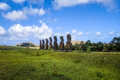 Moais statues, ahu Akivi, easter island. Chile stock images