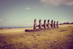 Moais statues, ahu Akivi, easter island. Chile royalty free stock photography