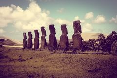 Moais statues, ahu Akivi, easter island. Chile stock photography